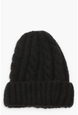 Black Chunky Mixed Marl Cable Knit Beanie