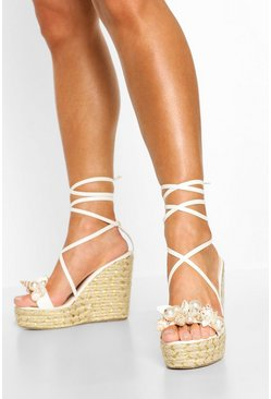 White Shell & Pearl Trim Wedges