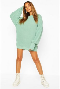 Sage green Oversized Knitted Dress