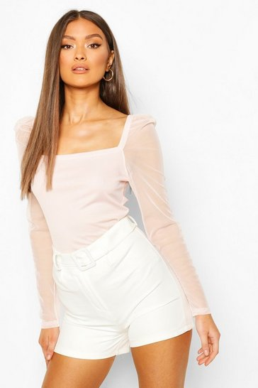 Crystal pink pink Pink Rib Mesh Top With Square Neck
