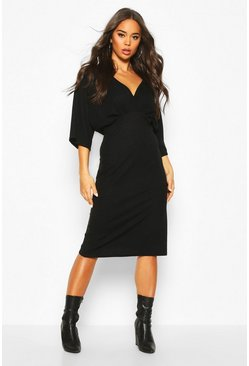 Black V Neck Drop Shoulder Midi Dress