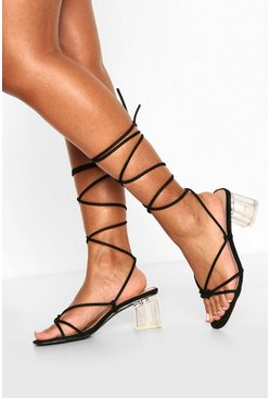 Black Strappy Clear Low Heel Sandals