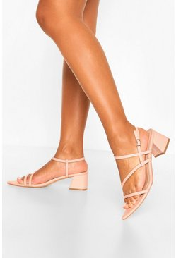 Pink Pointed Strappy Low Block Heel Sandals
