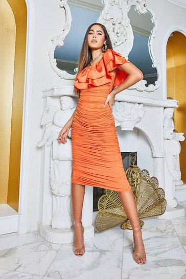 Orange Off The Shoulder Frill Mesh Midi Dress