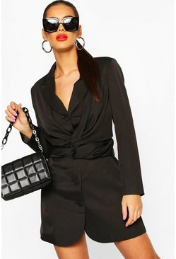 Twist Front Blazer Dress, Black negro