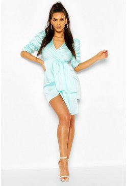Satin Plunge Puff Sleeve Drape Mini Dress, Aqua Синий