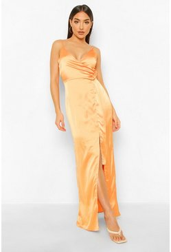 Orange Satin Wrap Maxi Dress