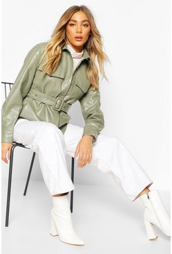 Sage Belted Faux Leather Jacket