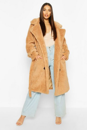 Camel Teddy Faux Fur Trench Coat
