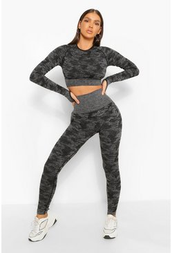 Black Fit Camo Contouring Seamless Leggings