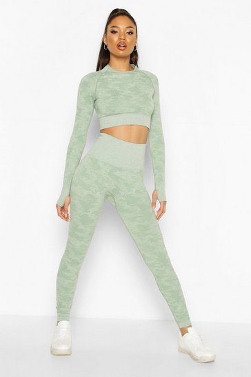 Khaki Fit Camo Contouring Seamless Leggings