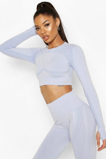 Blue Fit Contouring Seamless Long Sleeve Crop Top