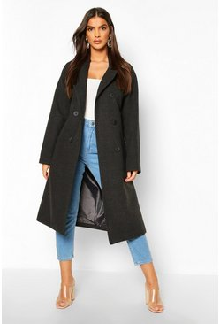 Charcoal Double Breasted Belted Wool Look Coat