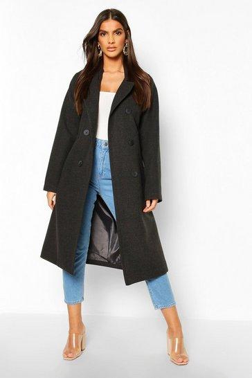 Womens Wool Look Coats Jackets, Ladies Long Black Wool Coat Uk