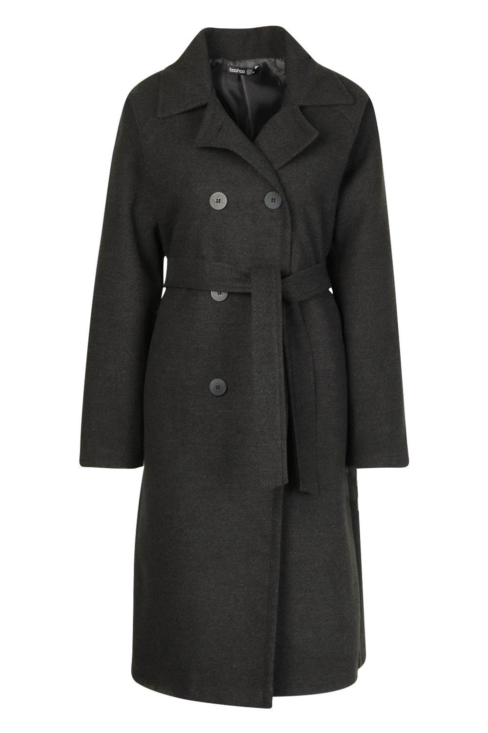 70s Jackets, Furs, Vests, Ponchos Womens Double Breasted Belted Wool Look Coat - Grey - 10 $32.00 AT vintagedancer.com