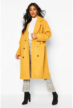 Mustard yellow Oversized Boyfriend Wool Look Coat