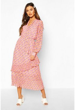Floral Print Tie Neck Detail Midaxi Dress, Pink