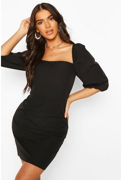 Black Puff Sleeve Square Neck Mini Dress