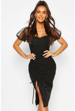 Black Off The Shoulder Puff Sleeve Ruched Midi Dress