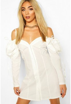 White Cotton Cold Shoulder Puff Sleeve Mini Dress