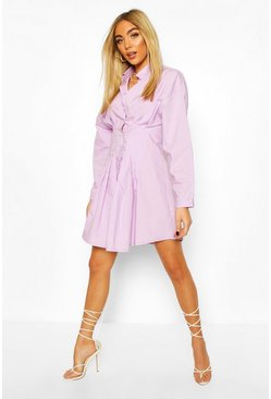 Lilac purple Drop Shoulder Cotton Fitted Shirt Dress