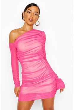 Pink One Shoulder Ruched Mesh Dress