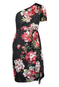 Black Floral Print One Shoulder Drape Midi Dress