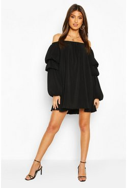 Plisse Off The Shoulder Puff Sleeve Swing Dress, Black negro