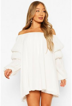 White Plisse Off The Shoulder Puff Sleeve Swing Dress