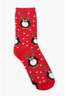Red Christmas Penguin Socks