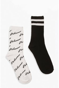 Black 2 Pack Woman Script and Stripe Socks