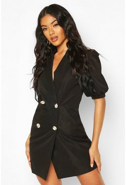 Puff Sleeve Blazer Dress, Black noir