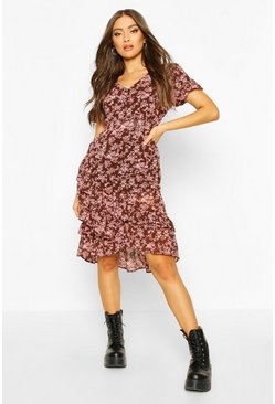 Chocolate brown Floral Ruffle Midi Dress