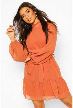 Rust orange Dobby Chiffon Ruffle Neck Belted Skater Dress