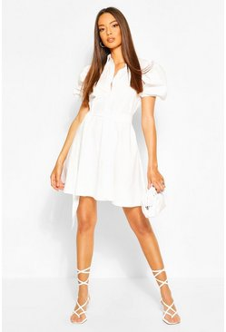 White Puff Sleeve Belted Shirt Dress