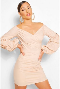 Nude Off The Shoulder Wrap Shift Dress