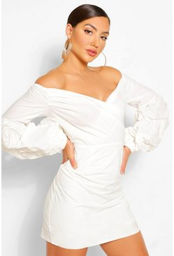 White Off The Shoulder Wrap Shift Dress