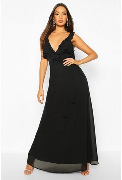 Ruffle Detail Chiffon Maxi Dress, Black