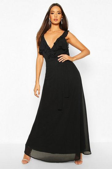 Black Ruffle Detail Chiffon Maxi Dress
