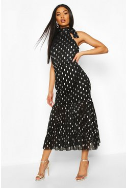 Black Foil Polka Dot Chiffon Midaxi Dress