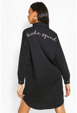 Black Bride Squad Embroidered Denim Shirt Dress
