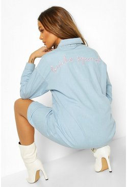 Mid blue blue Bride Squad Embroidered Denim Shirt Dress