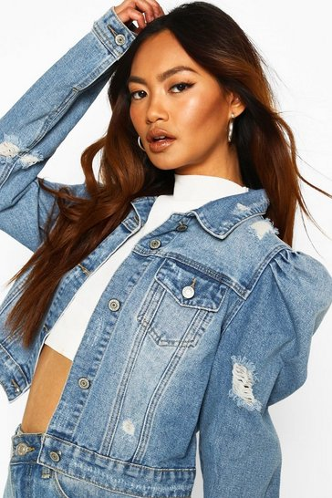 Mid blue blue Distressed Puff Shoulder Detail Denim Jacket