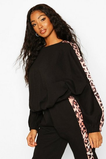 Black Colour Block Leopard Oversized Sweater