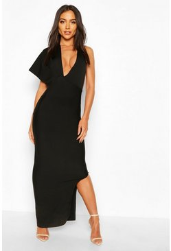 Black Premium Sculpting Bandage One Shoulder Midaxi Dress