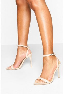 Nude Barely There Pointed Toe Two Part Heel Sandals