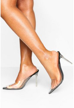 Black Clear Pointed Heel Mules