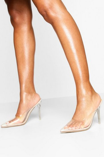 Nude Clear Pointed Heel Mules