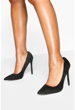 Black High Heel Pointed Court Shoes