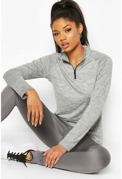 Charcoal grey Fit Woman Funnel Neck Marl Top